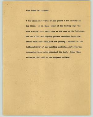 Primary view of object titled '[News Script: Fire burns box factory]'.