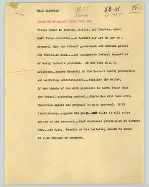 Primary view of object titled '[News Script: Milk election]'.