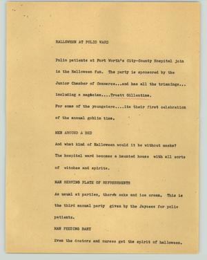 Primary view of object titled '[News Script: Halloween at polio ward]'.