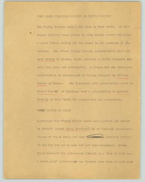 Primary view of object titled '[News Script: Fort Worth publisher honored by flying farmers]'.