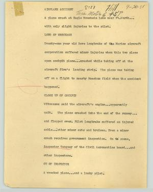 Primary view of object titled '[News Script: Airplane accident]'.