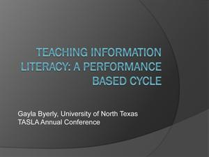 Primary view of object titled 'Teaching Information Literacy: A Performance Based Cycle'.