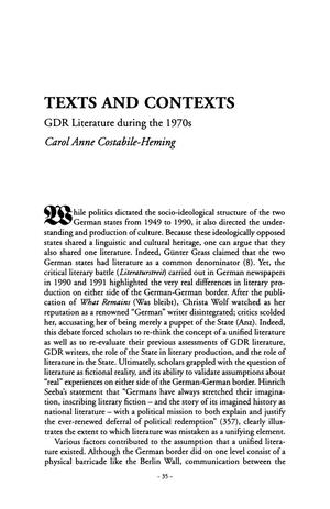 Primary view of object titled 'Texts and Contexts: GDR Literature during the 1970s'.