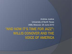 "Primary view of object titled '""And Now It's Time for Jazz"": Willis Conover and the Voice of America'."