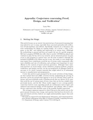 Primary view of object titled 'Appendix: Conjectures concerning proof, design, and verification.'.