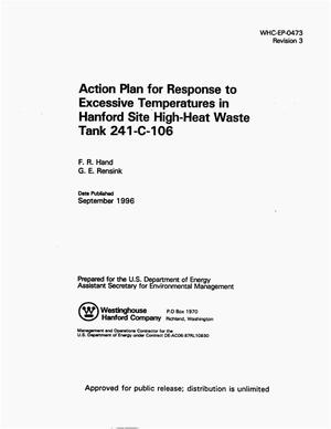 Primary view of object titled 'Action plan for response to excessive temperatures in Hanford site high-heat waste tank 241-C-106'.