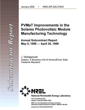 Primary view of object titled 'PVMaT improvements in the Solarex photovoltaic module manufacturing technology: Annual subcontract report: May 5, 1998 -- April 30, 1999'.