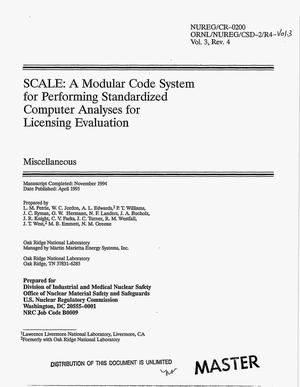 Primary view of object titled 'SCALE: A modular code system for performing standardized computer analyses for licensing evaluation. Miscellaneous -- Volume 3, Revision 4'.