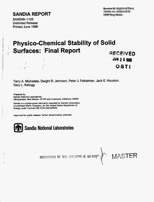 Primary view of object titled 'Physico-chemical stability of solid surfaces: Final report'.