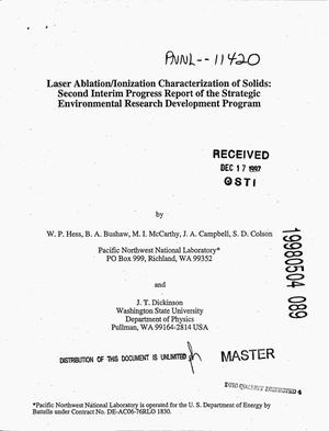 Primary view of object titled 'Laser ablation/ionization characterization of solids: Second interim progress report of the strategic environmental research development program'.