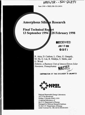 Primary view of object titled 'Amorphous silicon research. Final technical report, 13 September 1994--28 February 1998'.