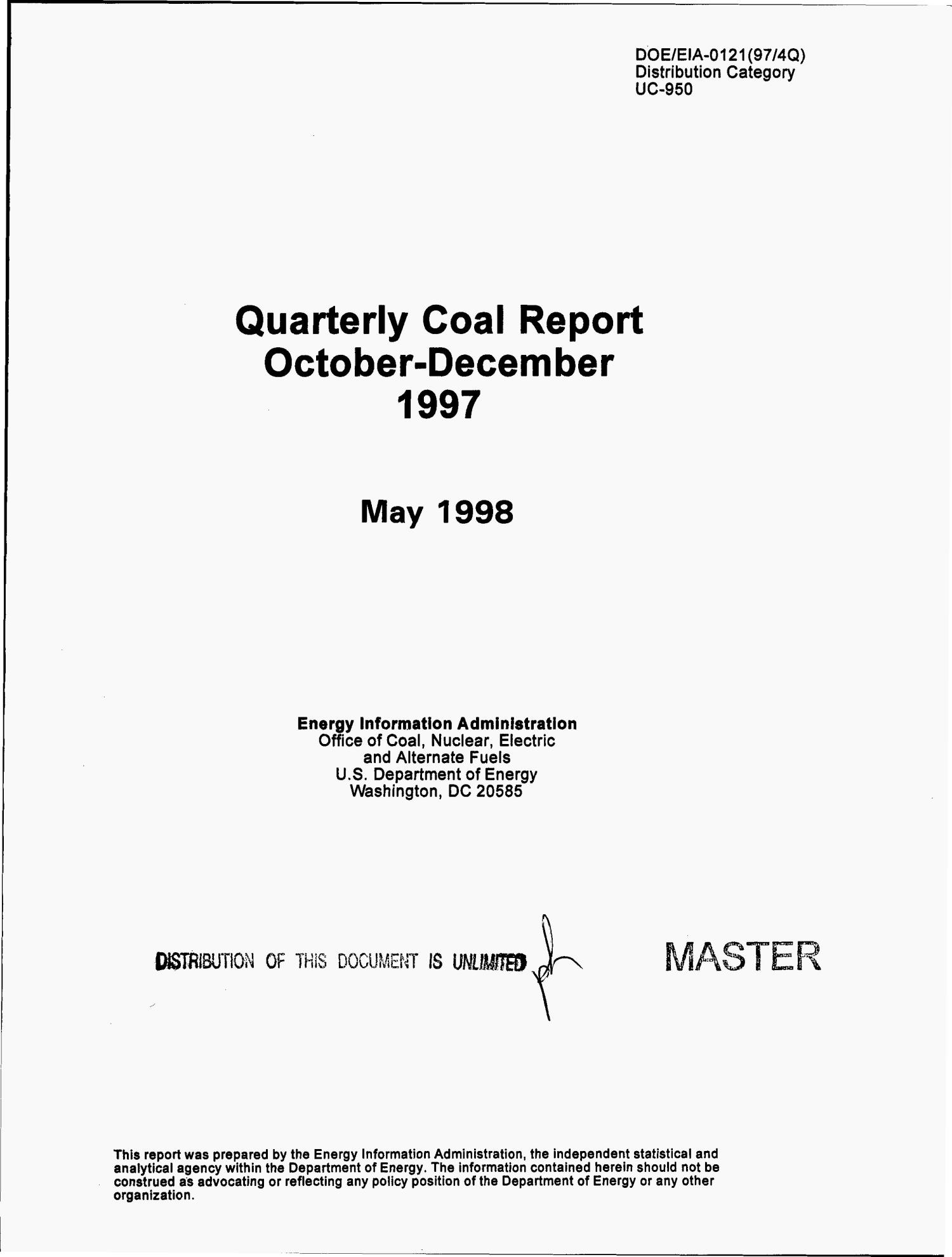 Quarterly coal report, October--December 1997                                                                                                      [Sequence #]: 3 of 149