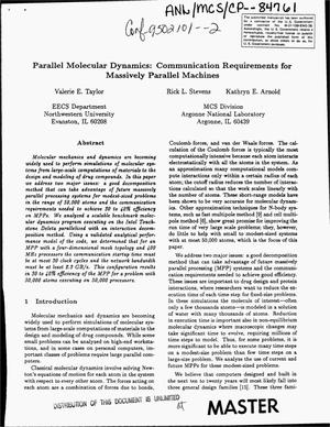 Primary view of object titled 'Parallel molecular dynamics: Communication requirements for massively parallel machines'.