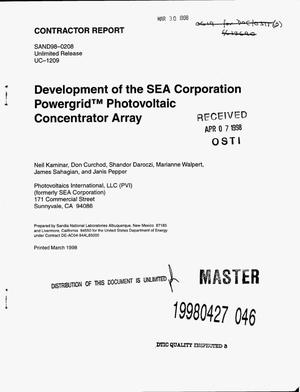 Primary view of object titled 'Development of the SEA Corporation Powergrid{trademark} photovoltaic concentrator'.