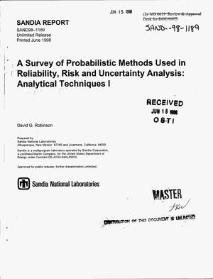 Primary view of object titled 'A survey of probabilistic methods used in reliability, risk and uncertainty analysis: Analytical techniques 1'.