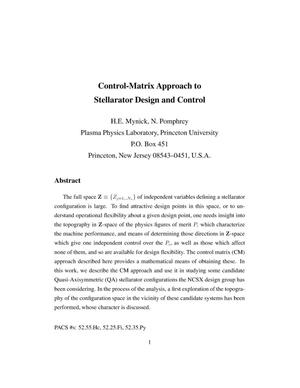 Primary view of object titled 'Control-matrix approach to stellarator design and control'.