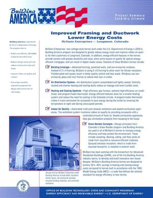 Primary view of object titled 'Improved framing and ductwork lower energy costs, McStain Enterprises - Longmont, CO: Building America Project summary fact sheet'.
