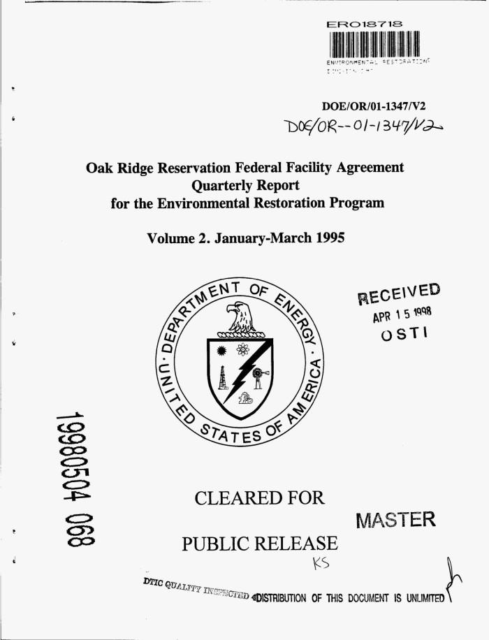 Oak Ridge Reservation Federal Facility Agreement Quarterly Report