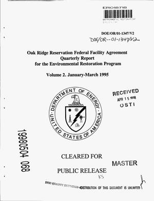 Primary view of object titled 'Oak Ridge Reservation Federal Facility Agreement quarterly report for the environmental restoration program. Volume 2: January--March 1995'.