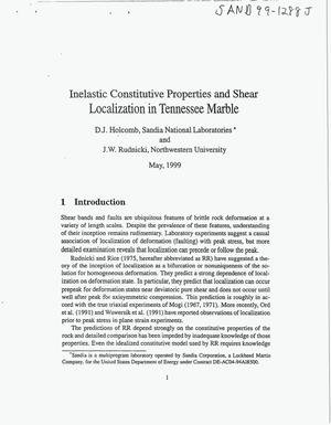 Primary view of object titled 'Inelastic Constitutive Properties and shear Localization in Tennessee Marble'.