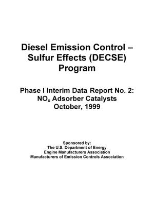 Primary view of object titled 'Diesel Emission Control -- Sulfur Effects (DECSE) Program; Phase I Interim Data Report No. 2: NO{sub x} Adsorber Catalysts'.