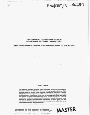 Primary view of object titled 'The Chemical Technology Division at Argonne National Laboratory: Applying chemical innovation to environmental problems'.