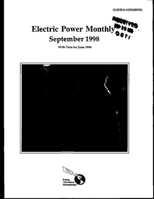 Primary view of object titled 'Electric power monthly, September 1998, with data for June 1998'.