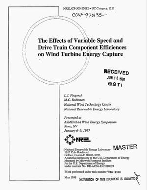 Primary view of object titled 'The effects of variable speed and drive train component efficiencies on wind turbine energy capture'.