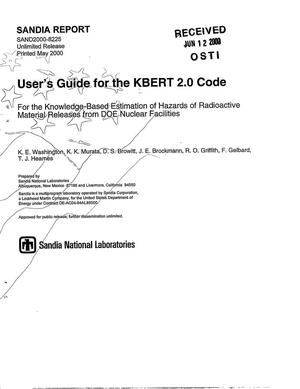 Primary view of object titled 'User's guide for the KBERT 2.0 code'.