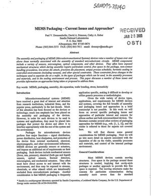 Primary view of object titled 'MEMS Packaging - Current Issues and Approaches'.