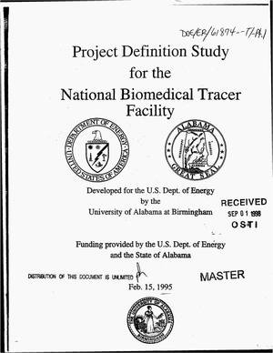 Primary view of object titled 'Project definition study for the National Biomedical Tracer Facility'.