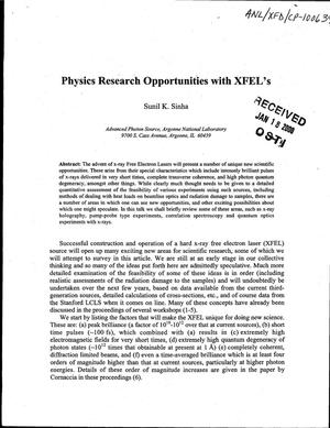 Primary view of object titled 'Physics research opportunities with XFEL's.'.