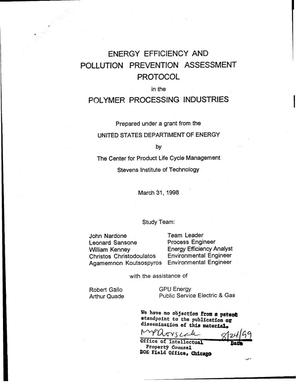 Primary view of object titled 'Energy efficiency and pollution prevention assessment protocol in the polymer processing industries. Final report'.