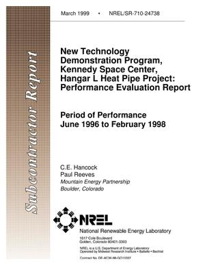 Primary view of object titled 'New Technology Demonstration Program, Kennedy Space Center, Hangar L Heat Pipe Project: Performance Evaluation Report'.