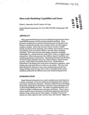 Primary view of object titled 'Meso-scale machining capabilities and issues'.