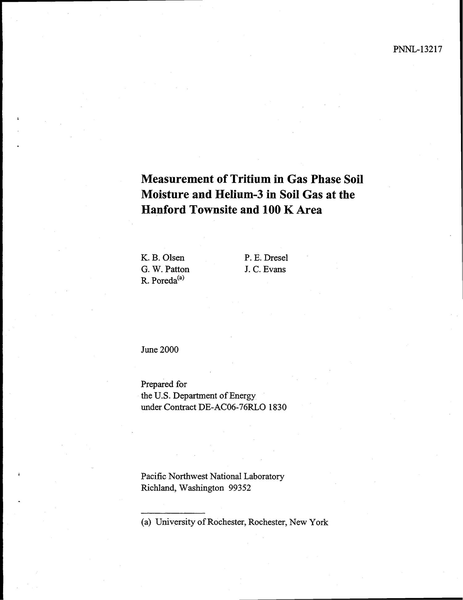 Measurement of Tritium in Gas Phase Soil Moisture and Helium-3 in Soil Gas at the Hanford Townsite and 100 K Area                                                                                                      [Sequence #]: 1 of 26
