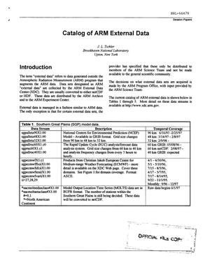 Primary view of object titled 'CATALOG OF ARM EXTERNAL DATA.'.