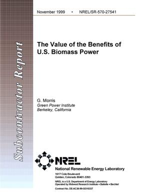 Primary view of object titled 'The value of the benefits of U.S. biomass power'.