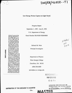 Primary view of object titled 'Low energy proton capture in light nuclei. Progress report, September 1, 1993--June 8, 1994'.