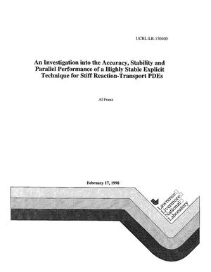 Primary view of object titled 'An investigation into the accuracy, stability and parallel performance of a highly stable explicit technique for stiff reaction-transport PDEs'.