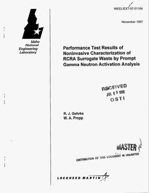 Primary view of object titled 'Performance test results of noninvasive characterization of RCRA surrogate waste by prompt gamma neutron activation analysis'.