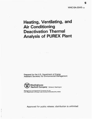 Primary view of object titled 'Heating, ventilating, air conditioning deactivation thermal analysis of the PUREX plant'.