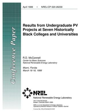 Primary view of object titled 'Results from Undergraduate PV Projects at Seven Historically Black Colleges and Universities'.