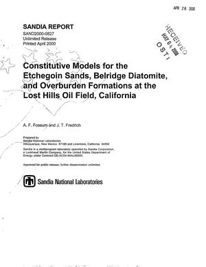 Primary view of object titled 'Constitutive models for the Etchegoin Sands, Belridge Diatomite, and overburden formations at the Lost Hills oil field, California'.