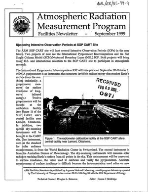 Primary view of object titled 'Atmospheric Radiation Measurement Program Facilities Newsletter - September 1999'.