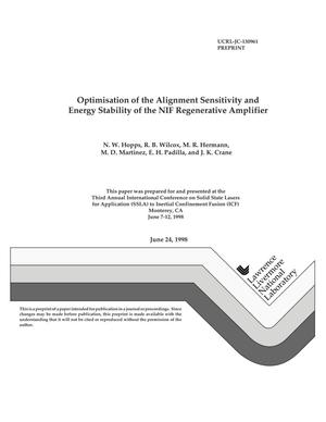 Primary view of object titled 'Optimization of the alignment sensitivity and energy stability of the NIF regenerative amplifier cavity/011'.