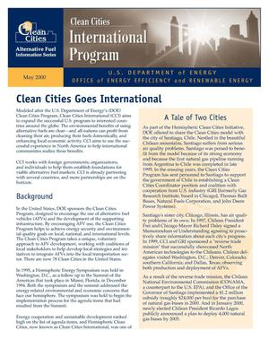 Primary view of object titled 'Clean Cities Goes International (Clean cities alternative fuel information series fact sheet)'.