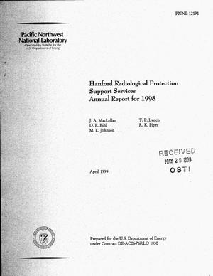 Primary view of object titled 'Hanford Radiological Protection Support Services Annual Report for 1998'.