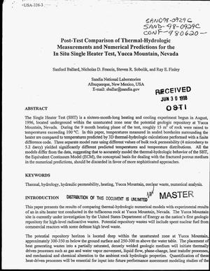 Primary view of object titled 'Post-test comparison of thermal-hydrologic measurements and numerical predictions for the in situ single heater test, Yucca Mountain, Nevada'.