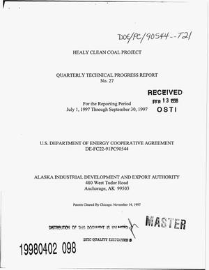 Primary view of object titled 'Healy Clean Coal Project. Quarterly technical progress report number 27, July 1--September 30, 1997'.